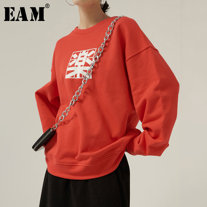 [EAM] Loose Fit Pattern Print Split Oversized Sweatshirt New Round Neck Long Sleeve Women Big Size Fashion Spring 2020 1N989