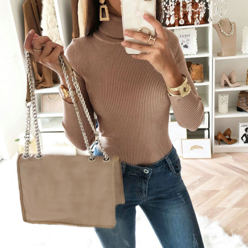 SFIT Sexy Skinny Turtleneck Thin Autumn Women Sweater Club Party Bodycon Knit Pullovers Slim Fit Bodysuit Fashion Sweaters
