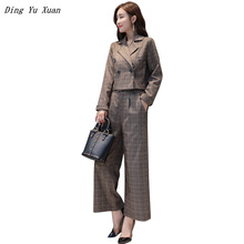 2020 Korean Casual Wide Leg Pants Suits for Women Short Blazer Jacket Long Trouser Grey Brown Plaid Office Work Pantsuit Elegant