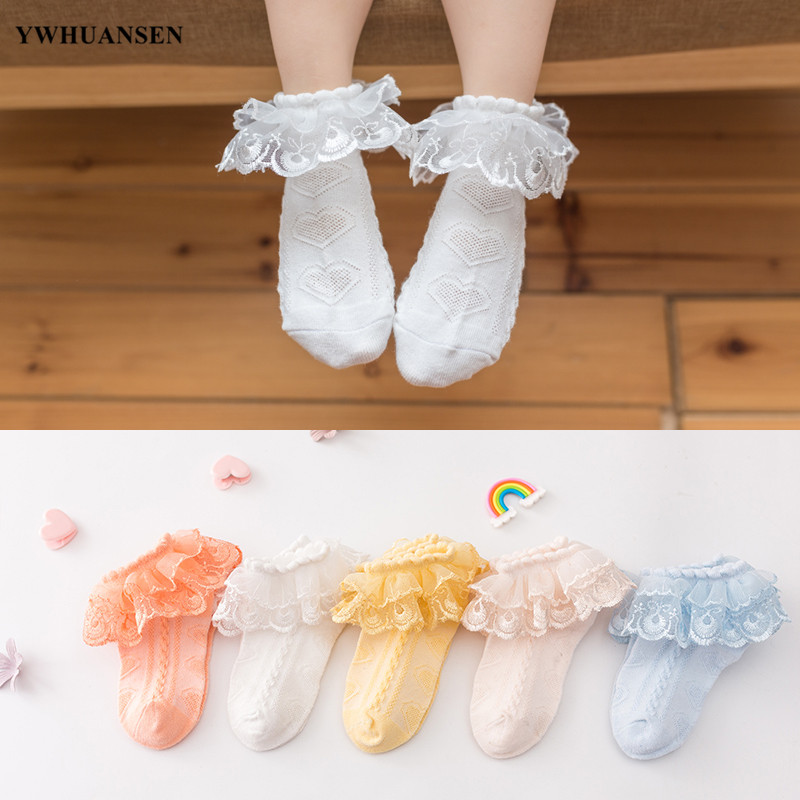 YWHUANSEN 1 Pair 0 To 6 Yrs Little Girls' Princess Lace Top Dressy Sock Cotton Ankle Socks For Toddler Double Ruffle Party Socks