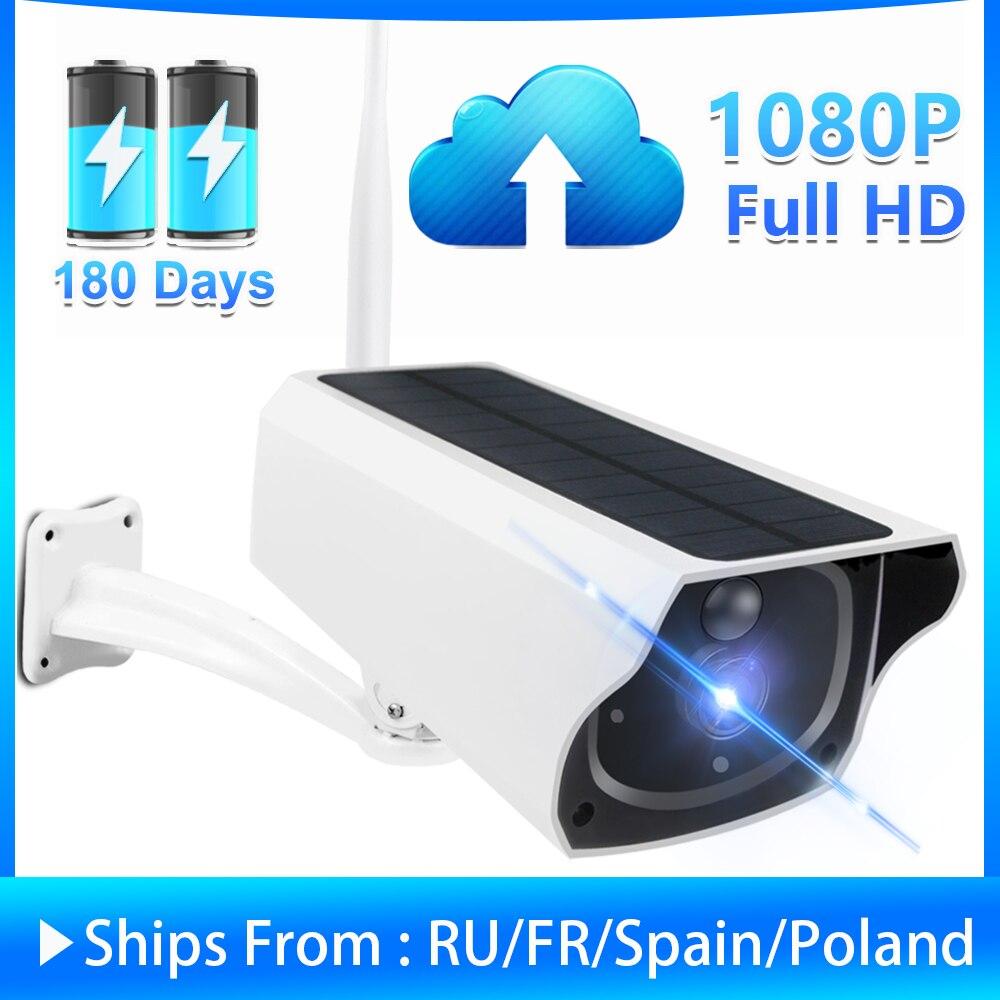 Açık güneş güvenlik kamera 1080P kablosuz WiFi kamera GÜNEŞ PANELI şarj edilebilir pil mermi PIR hareket alarmı İki yönlü ses