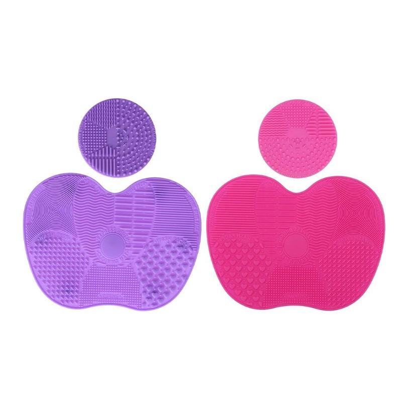 Silicone Makeup Brush Cleaning Mat 1 Apple Shaped Large Mats+1 Round Mats