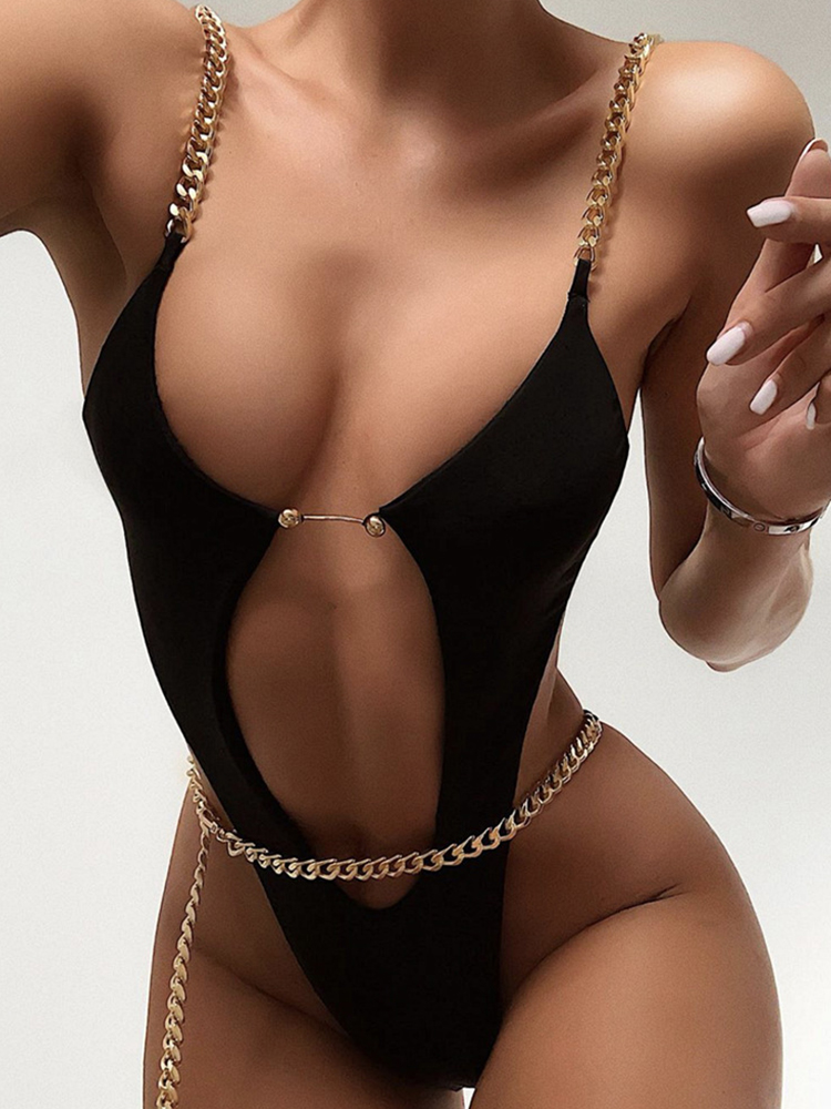 ZTVitality Black One Piece 2020 New Arrival Padded Bra Swimsuit Female Sexy Chain Hollow Out Monokini Backless Swimwear Women Body Suits  - AliExpress