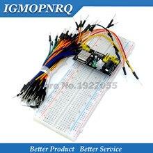 Mb102 placa de pão módulo + MB-102 830 pontos solda, sem solda, protótipo placa + 65 fios flexíveis, frete grátis