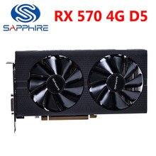 Safira rx 570 4gd5 placas gráficas rx570 4g 256bit gddr5 placa de vídeo para amd rx 500 série radeon RX570-4GB pulso usado
