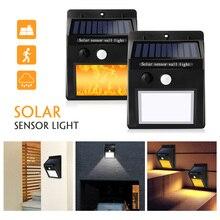 2 шт./лот, светодиодный светильник на солнечных батареях, 16 светодиодов, датчик движения, мерцающее пламя, уличный Солнечный забор, настенный светильник, садовый светильник