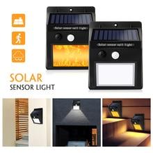 2 pièces/lot. Lampe solaire LED 16LED PIR détecteur de mouvement flamme vacillante. Lumière de clôture solaire extérieure. Lampe murale. Lampe de jardin.