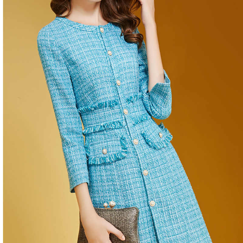 Tweed Autumn Winter Office Fashion Midi Ladies Dress Long Sleeve Vintage Wool Chic Plaid Thick High Quality Dresses Female