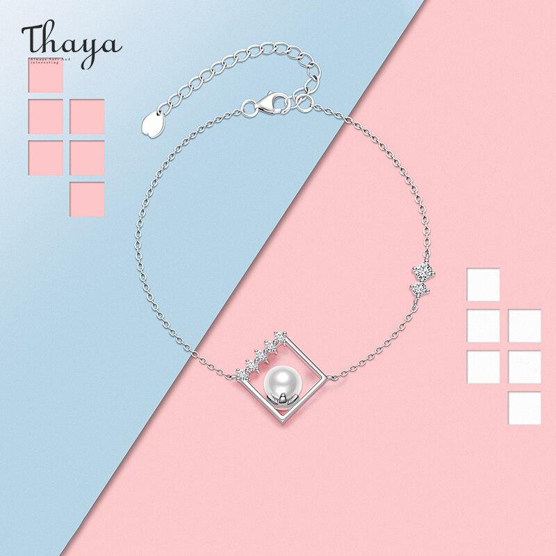 Thaya Silver Plated Lantern Bracelet Artificial White Pearl Thin Chain Dainty Bracelets Bangle 19cm For Women Fashion Jewelry