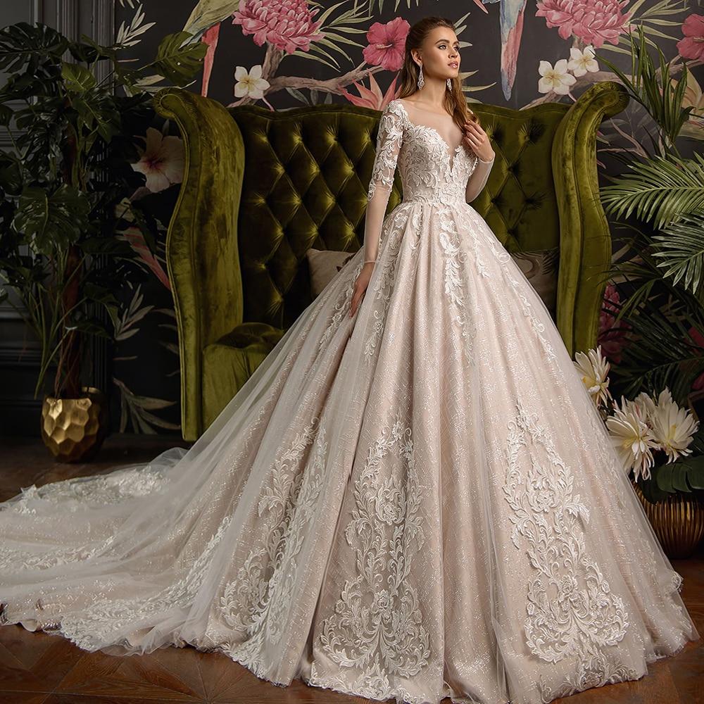 2020 Gorgeous Shiny Ball Gown Wedding Dresses Vestido De Casamento Beading Appliques Long Sleeve Wedding Dress Mariage