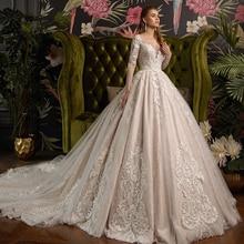 2020 wunderschöne Glänzende Ballkleid Hochzeit Kleider Vestido De Casamento Perlen Appliques Langarm Hochzeit Kleid Mariage