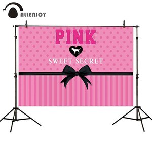 Image 2 - Allenjoy photophone background Pink victoria secret sweet 16 stripes bow polka dots birthday Party backdrop baby girl photocall