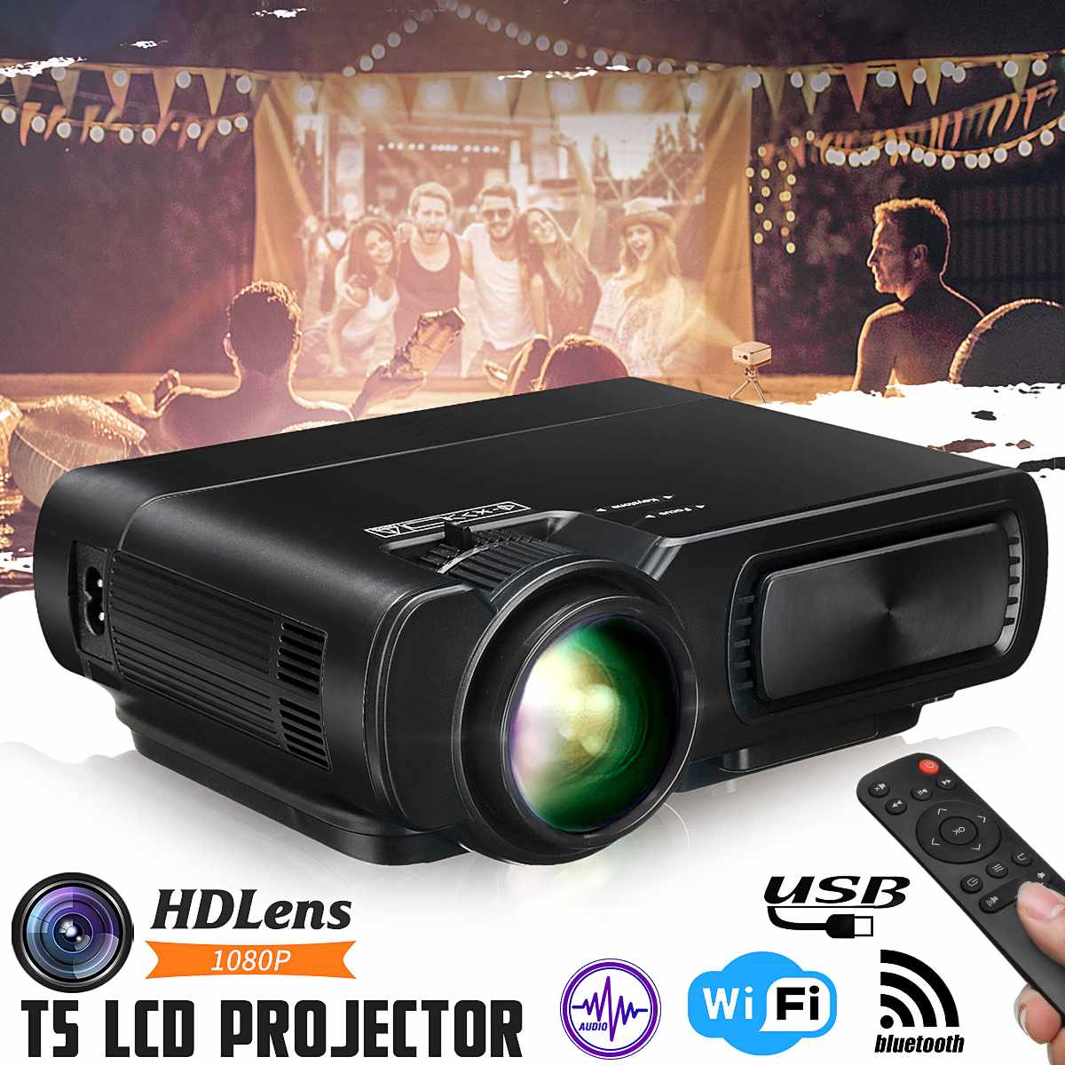 Mini Projector T5 LCD <font><b>7000</b></font> <font><b>Lumens</b></font> 1080P Full HD Wifi bluetooth Home Theater Android 6.0 Audio Speaker Home Theater Cinema image