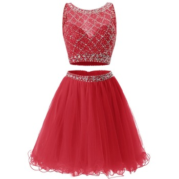 Free Shipping Homecoming Dress Tulle Two Pieces Girl Party Wear Cocktail Dresses Crystal Beaded Charming graduation robes 1