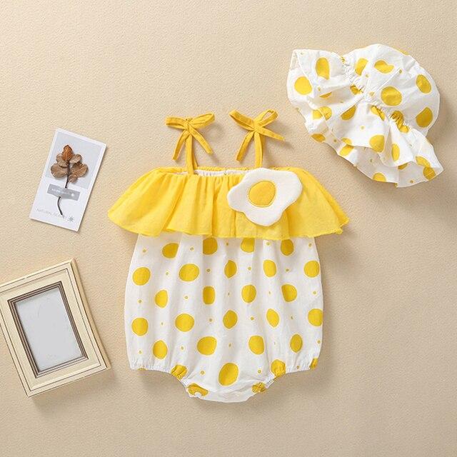 Summer Baby Jumpsuits + Hat - Strawberry, Egg, Cucumber, Lemon, Orange Prints