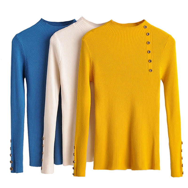 TOPPICK  2019 Women Fashionable Autumn And Winter Sweater  Soft Slim Jumper  Sweater Women's  Button Decoration Knitted Shirt