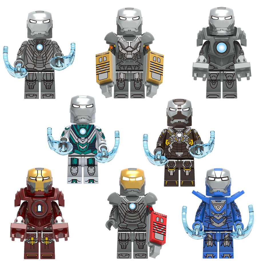 Iron Man Super Hero Figure Ironman War Machine Mark 9 10 11 12 13 23 26 27 Tony Stark Model Building Blocks Brick Toys Legoing