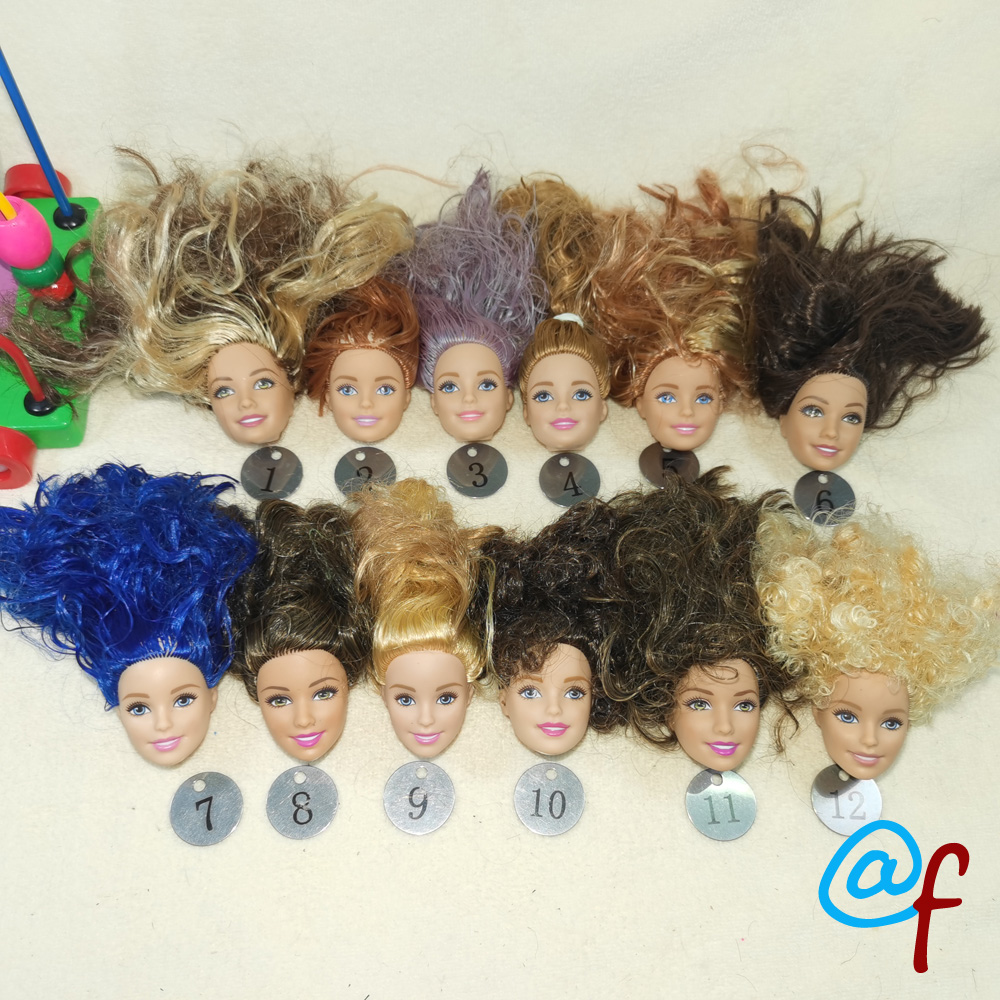 B20-24 Original Foreign Trade European Beauty1/6 OOAK NUDE Doll Head Mussed Long Hair For DIY Soft PVC Head  90%NEW