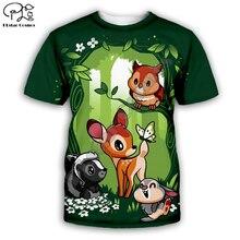 Bambi Animal cartoon deer style of cute natural men women t-shirts Funny 3d print crew neck casual tee shirts deer-001