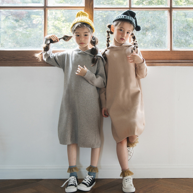 2020 New Kid Sweater Dress Baby Princess Dress Girl Autumn Dress Children Dress Rabbit Hair Core Spun Yarn Toddler Sweater,#3469