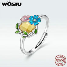 WOSTU New Arrival Authentic 925 Sterling Silver Blooming Flowers Opening Rings Beautiful Flower Pink & Blue Petals Bloom DAR062(China)
