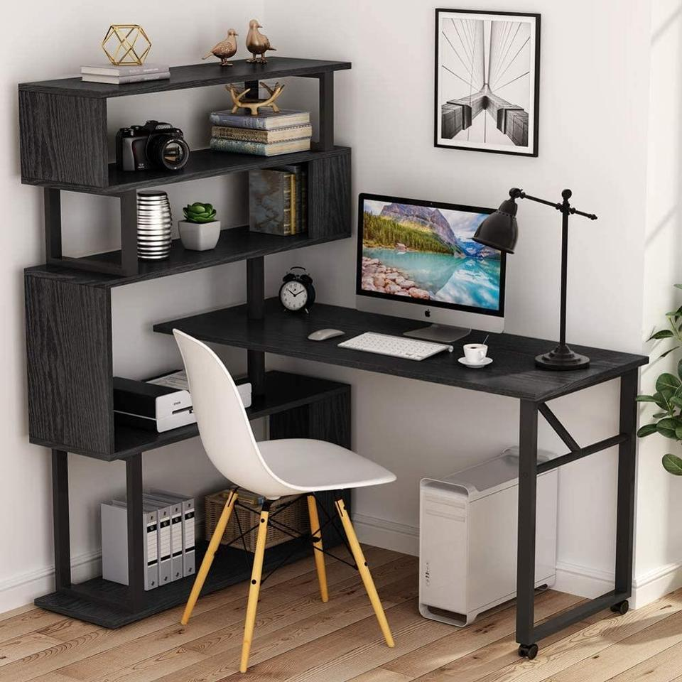 Tribesigns Rotating Computer Desk With 5 Shelves Bookshelf Vintage Rustic L Shaped Corner Desk With Storage Reversible Office Aliexpress