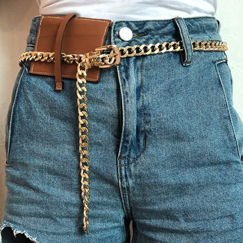 chain Simple thick chain fashion belt body chain personality punk metal chain single layer pants chain