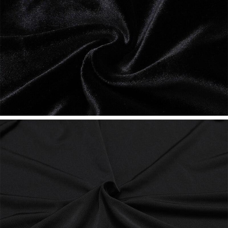 Image 3 - Осенне зимняя черная длинная юбка женская винтажная бархатная  длинная юбка Русалка с бесплатным поясом плюс размер Элегантная  велюровая юбка 2295LYЮбки