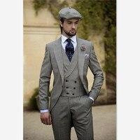 blazer masculino Mens Suit (Jacket+Pants+Vest+Tie) 3 piece suits Vintage grey slim men's groom dresses for men a button up