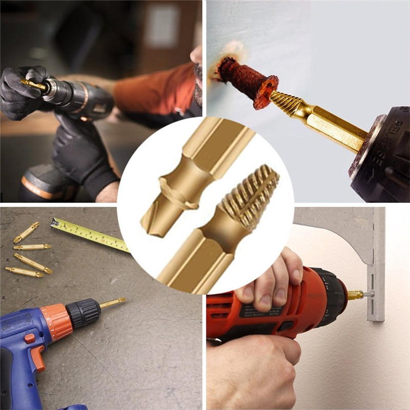 Купить с кэшбэком 4Pcs Broken Damaged Screw Extractor Drill Bit Guide Set Broken Bolt Fastener Remover Easy Out Carpentry Screw Extractor SetTP017