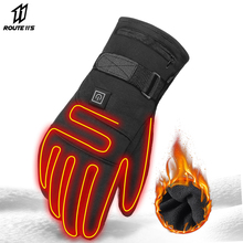 Waterproof Motorcycle Gloves Heated Guantes Moto Heating USB Hand Warmer Electric  Battery Powered Thermal Heated Gloves stylish usb heated warm gloves purple white pair
