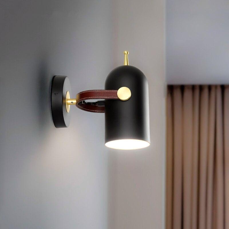 Nórdico moderno lâmpada de parede decoração para casa cinto preto quarto luz lampara pared luz do banheiro apliques murale led wandlamp - 4