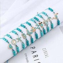 Boho Natural Stone Handmade Women Bracelet Fashion Blue butterfly Palm tree Love heart owl Bracelet for Women Gift Jewelry цена