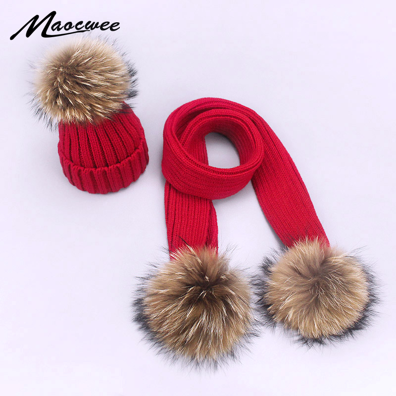 Two-piece Scarf Hat Set New Arrival Children Women Beanies PomPon Knitted Skullies Hats Autumn And Winter Warm Solid Color