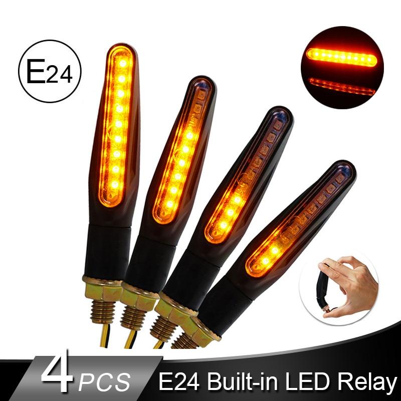 2/4Pcs Motorcycle Turn Signal Light Brake Lamp LED Flowing Water Flashing Lights Motorcycle Tail Indicator Amber Light