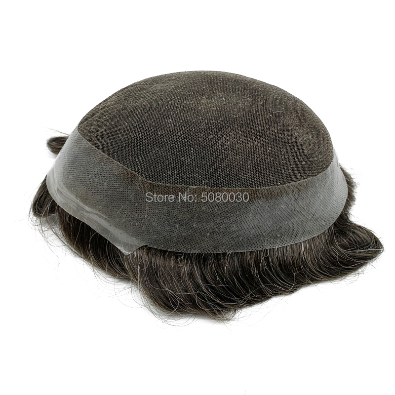 New Base Design Stock Remy Hair Toupee Lace Around Pu Men Toupee