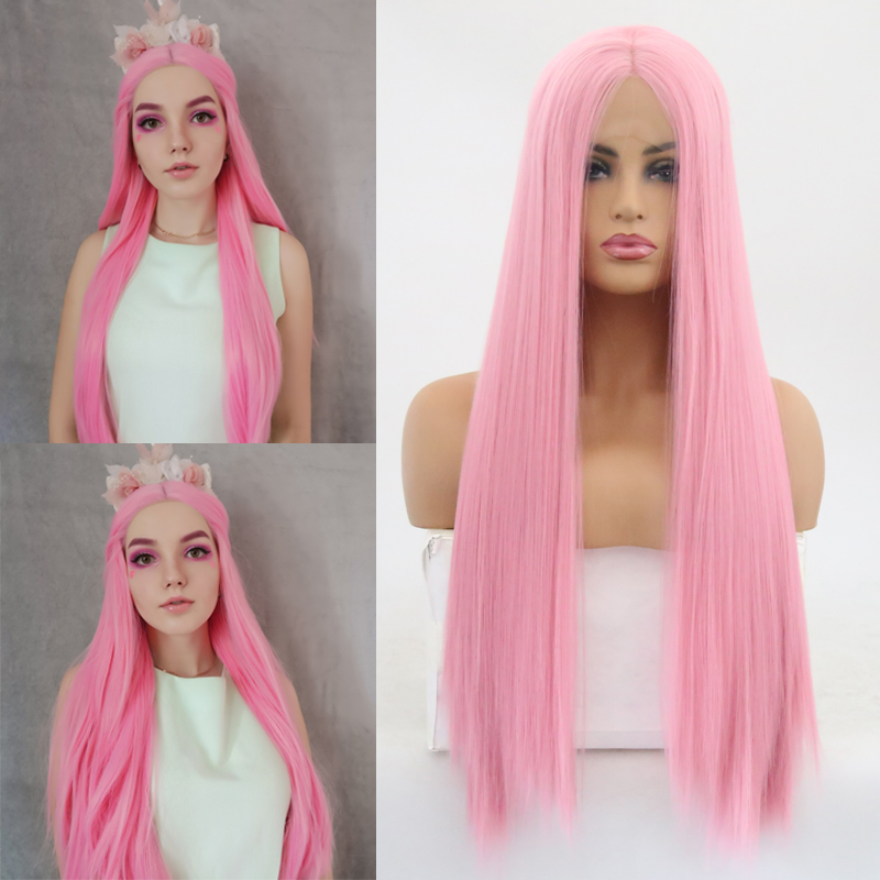 Charisma Straight Hair Wig Lace Front Wigs with Natural Hairline Pink Color High Temperature Fiber Synthetic Wig for Women(China)