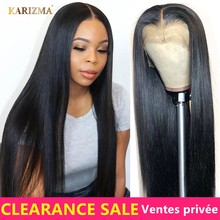 Perruque Lace Frontal Wig brésilienne naturelle Remy | Cheveux lisses, 13x4, avec Baby Hair(China)