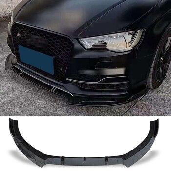 цена на Front Bumper Spoiler Protector Plate Lip Body Kit Carbon Surface Decorative Strip Chin Shovel For Audi S3 A3(S-line) 2014 2015