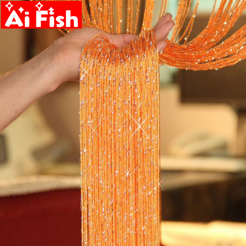 Hot Sale Muticolor Wire Curtain for Living Room Shiny Tassel Silver Line Window Door Divider Curtain Valance Home Decor WP246#40