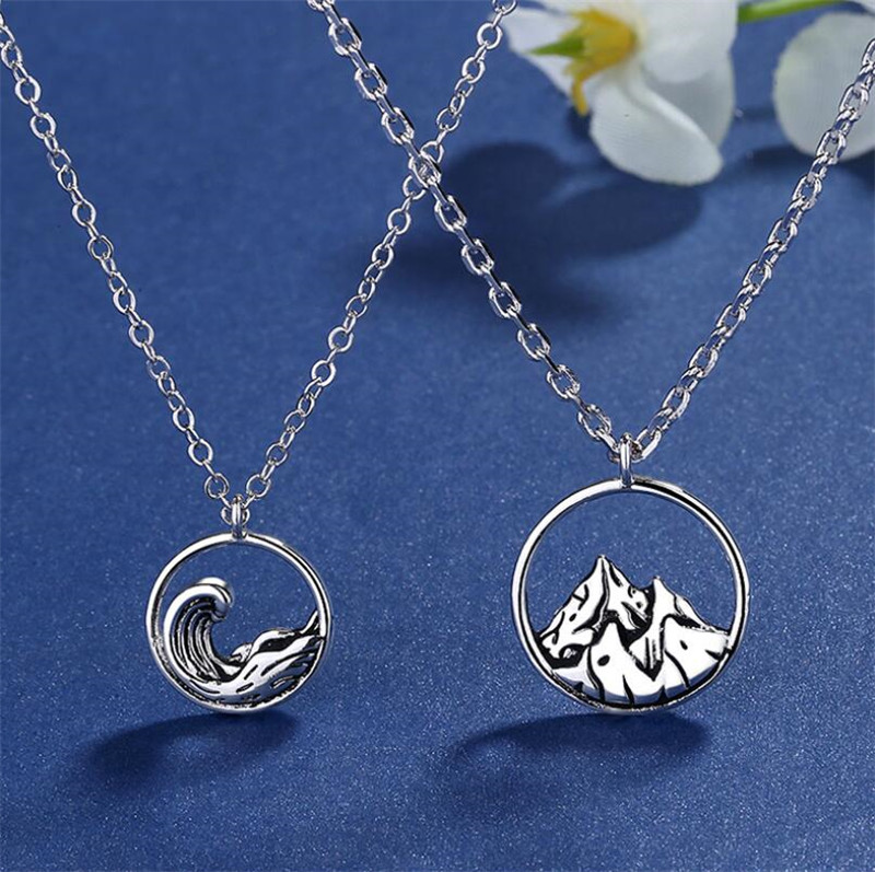 Jisensp Bohemian Vintage Necklace Ocean Wave Pendants Necklaces for Women Simple Snow Mountain Collares Hiker Climbing Men Gift