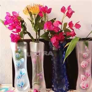 ガラスの花の花瓶折りたたみ花 Pvc 耐久性のある花瓶ウェディングパーティーの装飾 27x11.5 センチメートルエコ家の装飾の花瓶