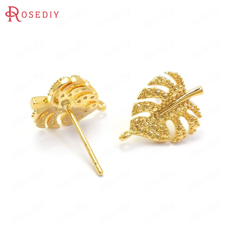 (37137)10PCS 15x10MM 24K Gold Color Brass Tree Leaf Leaves Stud Earrings High Quality Jewelry Making Supplies Diy Accessories