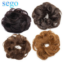SEGO 23g 100% Real Human Hair Curly Chignon Hairpiece For Women Natural Color Non-Remy Donut Extension Ponytails Brazilian Hair(China)