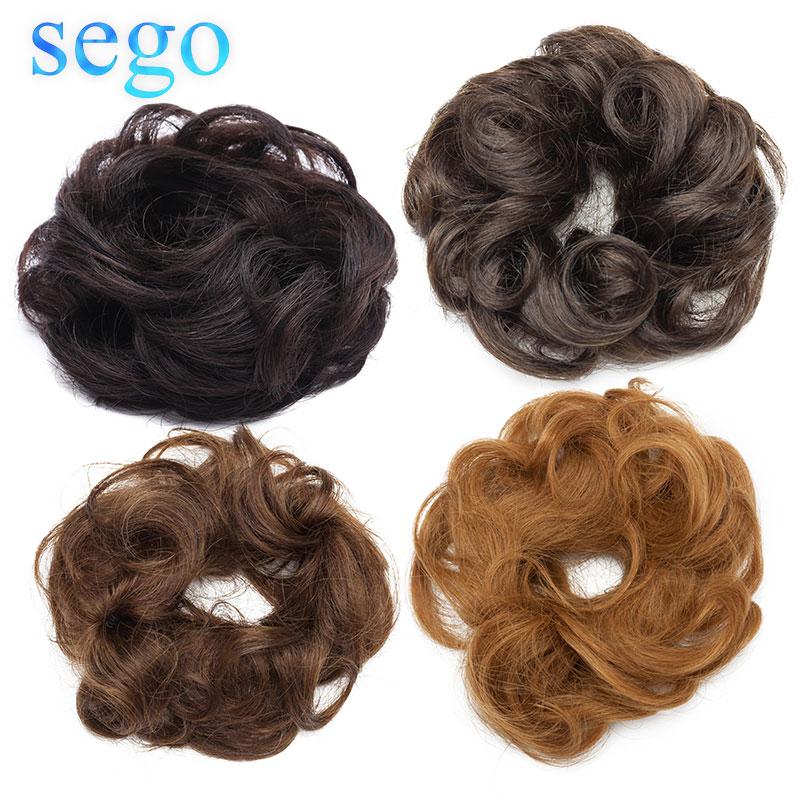 SEGO 23g 100% Real Human Hair Curly Chignon Hairpiece For Women Natural Color Non-Remy Donut Extension Ponytails Brazilian Hair