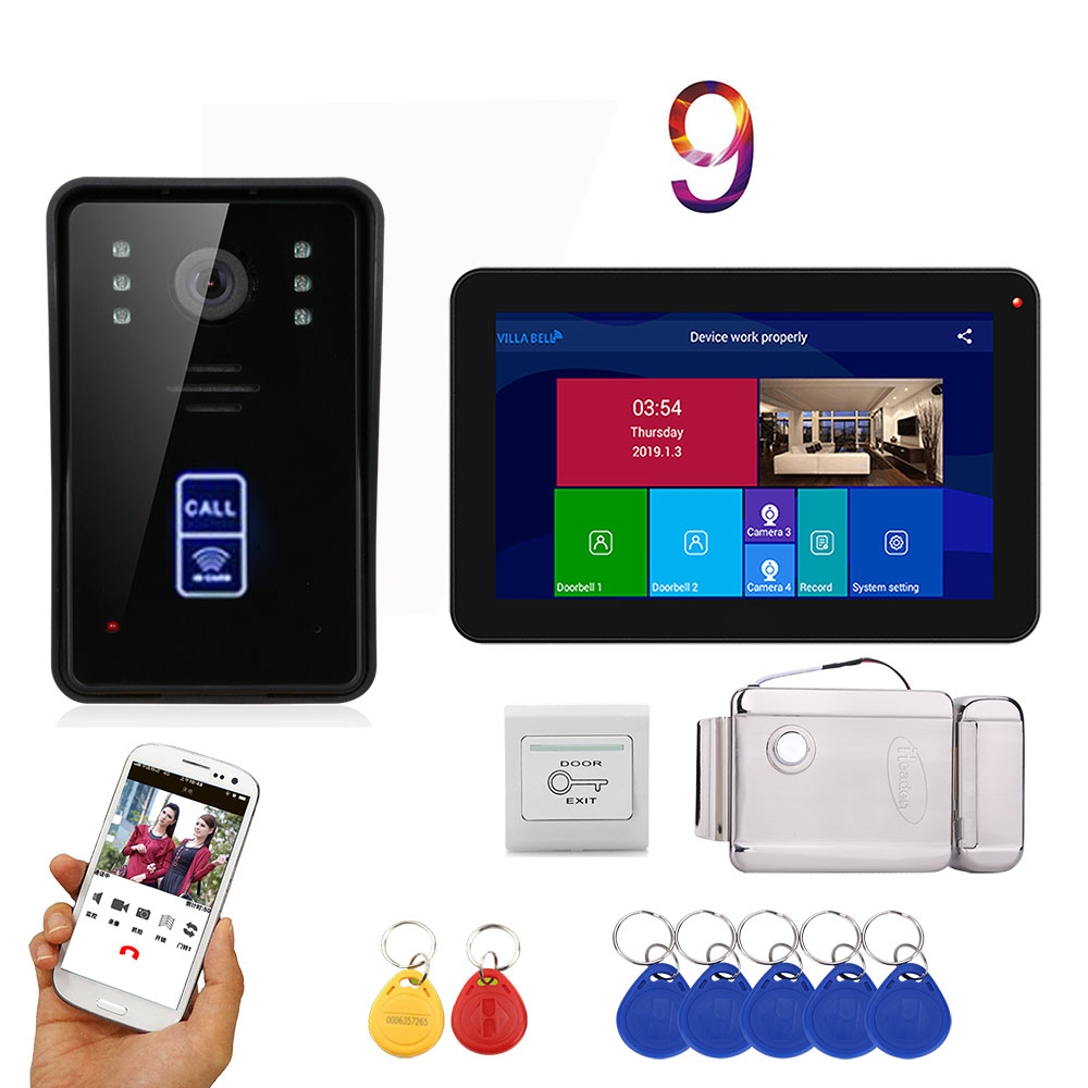 APP Control Video Intercom 9 Inch   Record Wifi  Video Door Phone Doorbell RFID Speakephone Intercom KIT+Door Opening Lock
