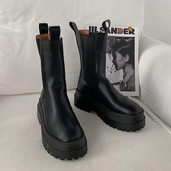 PU Chelsea Boots Women's Shoes 2020 Chunky Boots For Women Washion Designer Platform Shoes Woman Booties Heels Bottine Femme New фото
