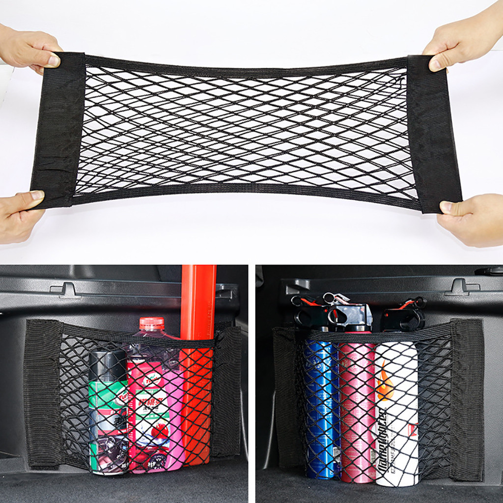 Car Back Rear Trunk Seat Elastic String Net Magic Sticker Mesh Storage Bag Pocket Cage Auto Organizer Seat Back Bag 40*25cm