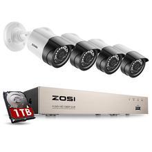 ZOSIระบบกล้องรักษาความปลอดภัย 8CH 1080P H.265 + TVIกล้องวงจรปิดDVR 4x2.0MP Securityกล้องชุดระบบเฝ้าระวังวิดีโอ
