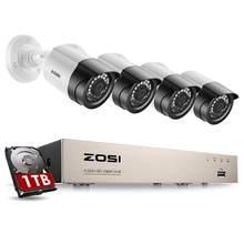 Zosi sistema de câmera de segurança, 8ch 1080p h.265 + tvi cctv dvr com kit de câmeras de segurança 4x2.0mp sistema de vigilância de vídeo para casa